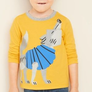 NWT Old Navy Long Sleeve Yellow Wolf Top 12-18mo